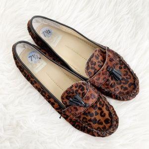 Dolce Vita Leopard Calf Fur Tassle Loafers 7.5